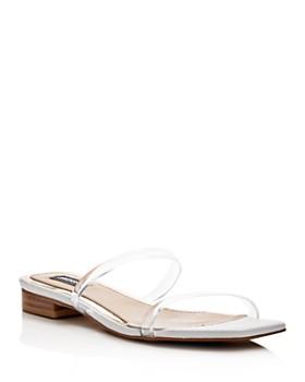 JAGGAR - Women's Perspex Clear Strap Wedge Slide Sandals