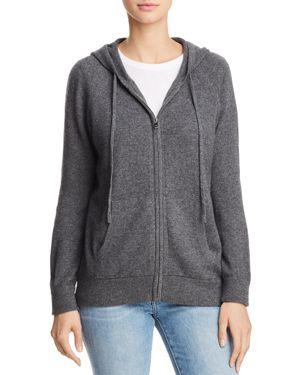 AQUA Cashmere Zip-Front Cashmere Hoodie - 100% Exclusive in Heather Gray