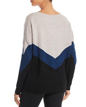 C by Bloomingdale's - Color-Block V-Neck Cashmere Sweater - 100% Exclusive