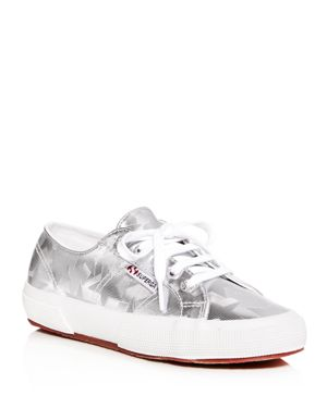 SUPERGA WOMEN'S STAR-EMBOSSED CLASSIC LACE UP SNEAKERS