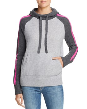 AQUA - Striped-Sleeve Hooded Cashmere Sweater - 100% Exclusive