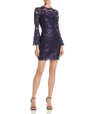 TADASHI PETITES Tadashi Shoji Petites Bell-Sleeve Lace Dress - 100% Exclusive in Notte