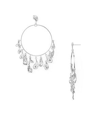 Natasha Droplets Loop Drop Earrings in Silver Metal