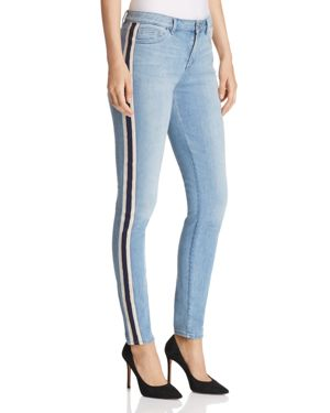 GOLDIE STRAIGHT-LEG TRACK-STRIPE JEANS IN LIGHT WASH