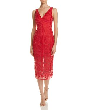FINDERS KEEPERS Spectrum Embroidered Dress in Red