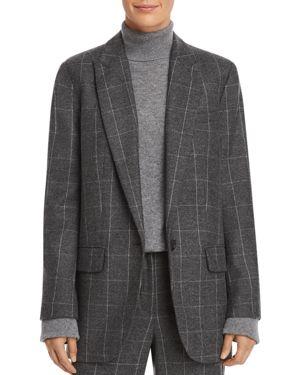 James Scholastic Plaid Wool Blazer in Charcoal Multi
