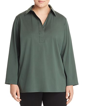 Lafayette 148 New York Plus - Beckett Collared Henley Blouse