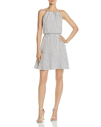 AQUA - Stripe Fit-and-Flare Dress - 100% Exclusive