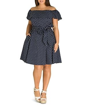 City Chic Plus Sweet Polka-Dot Off-the-Shoulder Dress