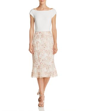 LAUNDRY BY SHELLI SEGAL FLORAL EMBROIDERED DRESS