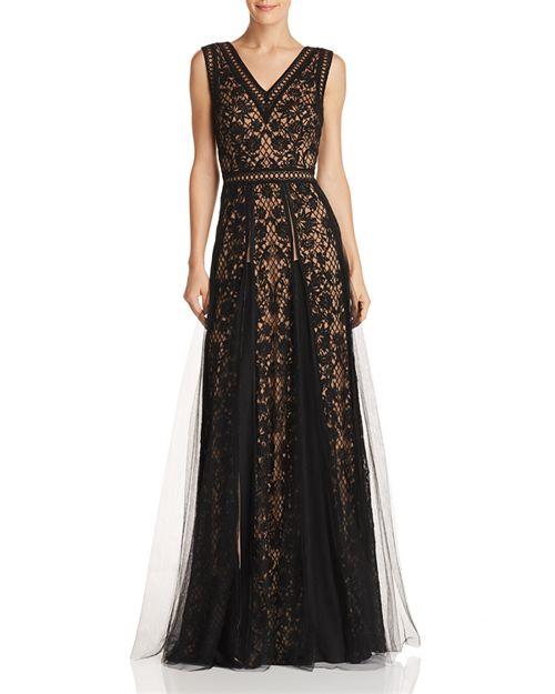 Tadashi Shoji Sleeveless Embroidered-Mesh Gown | Bloomingdale\'s