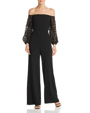 LAUNDRY BY SHELLI SEGAL OFF-THE-SHOULDER JUMPSUIT