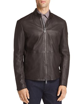 Armani - Leather Zip Up Jacket