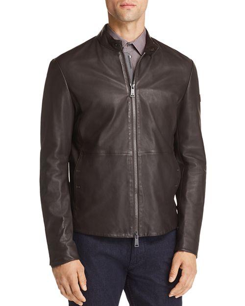 Emporio Armani - Leather Zip Up Jacket
