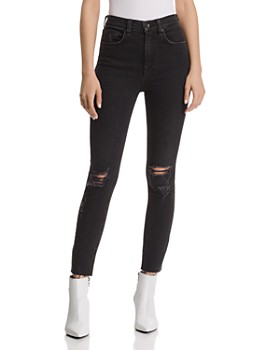 rag & bone/JEAN - High-Rise Distressed Ankle Skinny Jeans in Rock With Holes