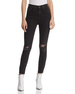 rag & bone/Jean High-Rise Distressed Ankle Skinny Jeans in Rock With Holes 3021699
