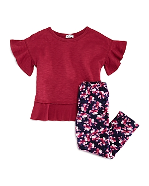 Splendid Girls' Flounce Top & Floral-Print Leggings Set - Little Kid