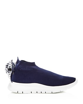 Joshua Sanders - Women's Embellished Knot Slip-On Wedge Sneakers