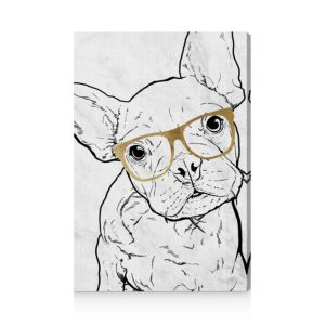 Oliver Gal Frenchie with Gold Glasses Wall Art, 24 x 36