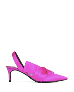 Via Spiga - Women's Elisha Satin Kitten Heel Slingback Pumps