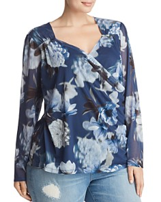 Love Scarlett Plus - Shirred Floral-Print Mesh Top
