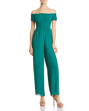Guess Lily Smocked Off-the-Shoulder Jumpsuit