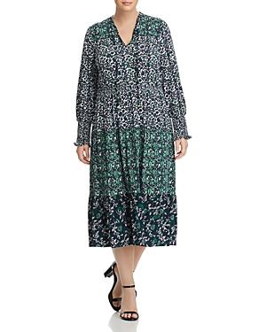 Michael Michael Kors Plus Tiered Paisley Print Midi Dress