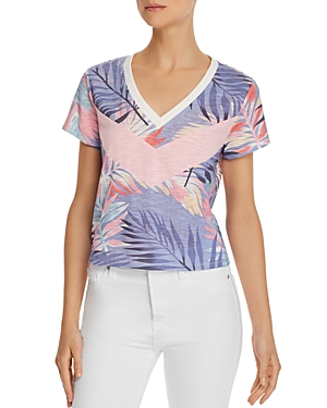 Honey Punch Color-Block Palm Print Tee