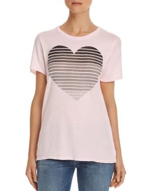 CHASER Striped Heart Graphic Tee in Light Pink