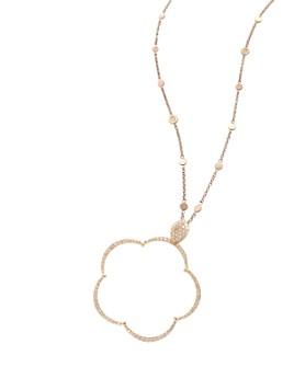 """Pasquale Bruni - 18K Rose Gold Bon Ton Ton Joli Diamond & Champagne Diamond Floral Large Pendant Necklace, 35"""""""