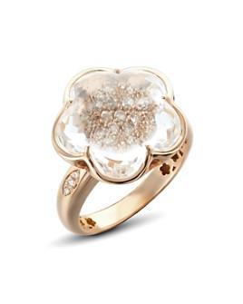 Pasquale Bruni - 18K Rose Gold Bon Ton Champagne Diamond & Rock Crystal Floral Ring