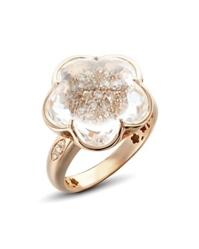 Pasquale Bruni - 18K Rose Gold Bon Ton Champagne Diamond & Rock Crystal Floral Ring