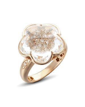 PASQUALE BRUNI 18K ROSE GOLD BON TON CHAMPAGNE DIAMOND & ROCK CRYSTAL FLORAL RING