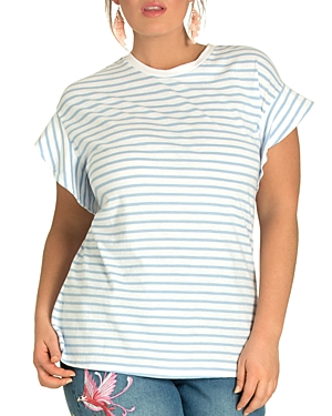 City Chic Plus Daydream Striped Flutter Tee