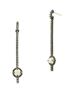 FREIDA ROTHMAN CULTURED FRESHWATER PEARL TEXTURED LINEAR DROP EARRINGS