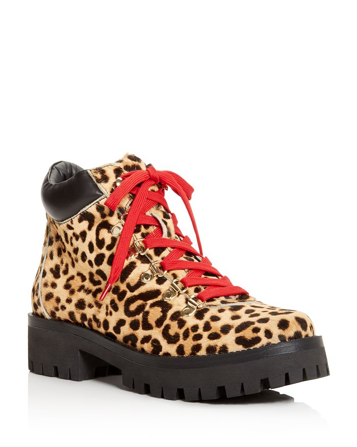 AQUA - Knox Women's Round-Toe Leopard-Print Lace Up Booties - 100% Exclusive