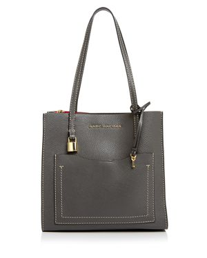 The Grind Medium Leather Tote - Grey, Forged Iron/Gold