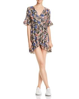 Lost and Wander - Siesta Printed Faux-Wrap Mini Dress