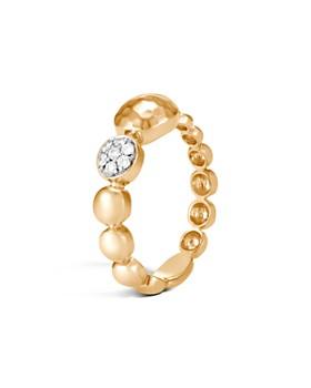 John Hardy - 18K Yellow Gold Dot Diamond Hammered Ring