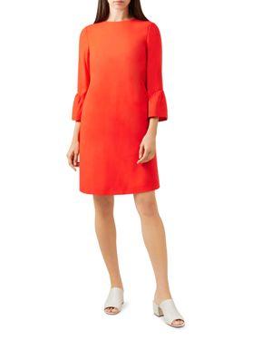 HOBBS LONDON FLORA BELL SLEEVE SHIFT DRESS