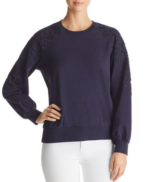 MARLED Embroidered Applique Sweatshirt in Navy