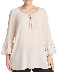 Estelle Plus - On a Whim Embroidered Peasant Top
