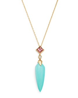 """Bloomingdale's - Turquoise, Diamond & Pink Tourmaline Pendant Necklace in 14K Yellow Gold, 17"""" - 100% Exclusive"""