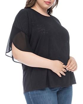 B Collection by Bobeau Curvy - Hadley Slub Knit Chiffon-Sleeve Top