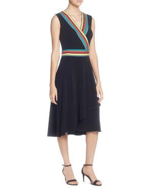 Multicolor Striped-Trim Sleeveless Wrap Dress, Black/ Multi