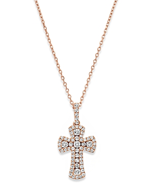 Bloomingdale's Diamond Cross Pendant Necklace in 14K Rose Gold, 0.50 ct. t.w. - 100% Exclusive