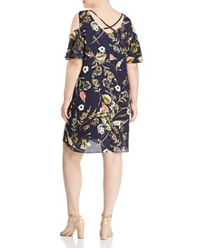 eb8edfb0886ef ... B Collection by Bobeau Curvy - Mary Floral Print Cold-Shoulder Dress -  100%