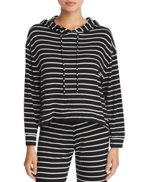 Hooded Striped Jersey Pajama Top, Black/Ivory