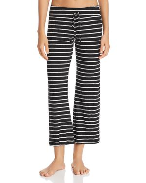 Lounge Striped Wide Leg Pyjama Bottoms, Black/Ivory