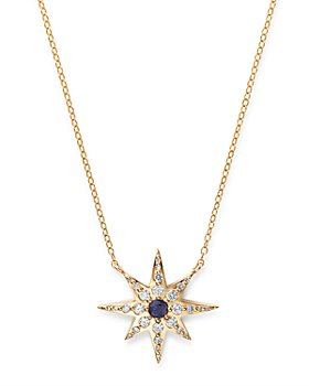 """Bloomingdale's - Diamond & Blue Sapphire Starburst Pendant Necklace in 14K Yellow Gold, 17"""" - 100% Exclusive"""